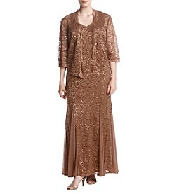 R&M Richards Plus Size Lace Embellished Sequin Jacket Dress Set