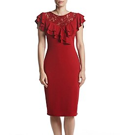 Ivanka Trump Ruffle Lace Detail Sheath Dress