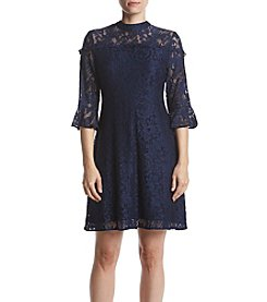 Ivanka Trump Lace Mock Neck Dress