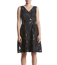 Ivanka Trump Floral Foil Fit And Flare Dress