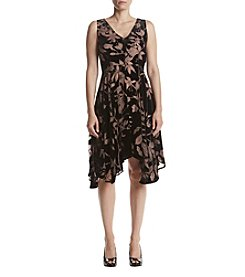 Ivanka Trump Velvet Burnout Floral Fit And Flare Dress