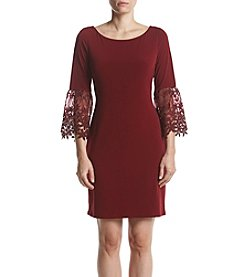 Ivanka Trump Lace Cuff Bell Sleeve Shift Dress