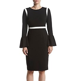 Calvin Klein Bell Sleeve Piping Detail Sheath Dress