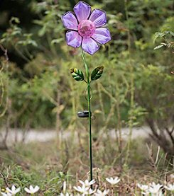 Sunjoy Glass Flower Garden Stake with LED Solar