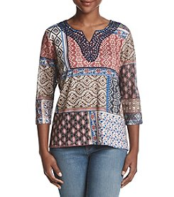 Alfred Dunner Petites' Patchwork Knit Top