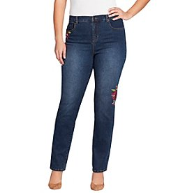 Gloria Vanderbilt Plus Size Rose Embroidery Jeans