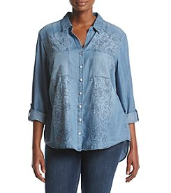 Gloria Vanderbilt Plus Size Casual Woven Top