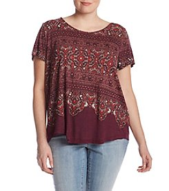Lucky Brand Plus Size Abstract Floral Print Tee