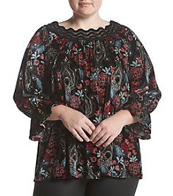Rafaella Plus Size Lace Collar Floral Print Top