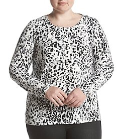 Rafaella Plus Size Graphic Cheetah Print Top