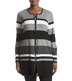 Rafaella Plus Size Striped Duster Cardigan