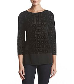 Ivanka Trump Velvet Burnout Woven Hem Top