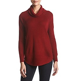 Ivanka Trump Cowl Zip Shirttail Sweater Top
