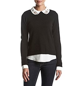 Ivanka Trump Layered Look Peter Pan Collar Sweater Top