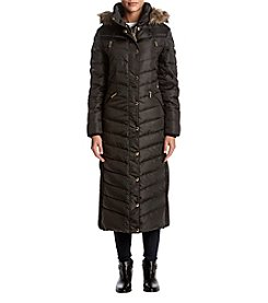 MICHAEL Michael Kors Long Side Panel And Faux Fur Trim Hood Coat