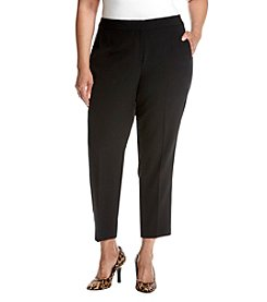 Kasper Plus Size Stretch Crepe Ankle Pants