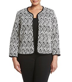 Kasper Plus Size Geometric Pattern Flyaway Jacket