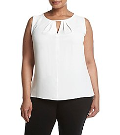 Kasper Plus Size Crepe Keyhole Neck Cami Top