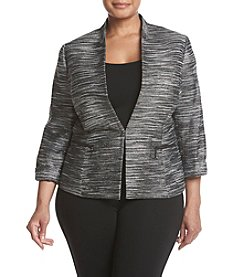 Kasper Plus Size Metallic Tweed Flyaway Jacket