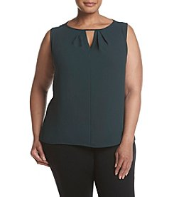 Kasper Plus Size Printed Jewel Neck Cami Top