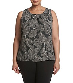 Kasper Plus Size Crepe Leaf Pattern Cami Top