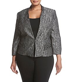 Kasper Plus Size Metallic Jacquard Jacket