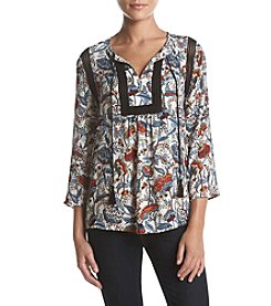 Black Rainn Lace Detail Paisley Print Top