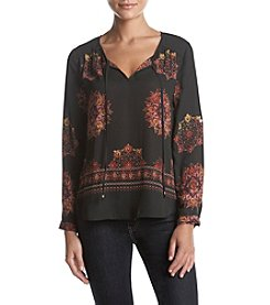 Black Rainn Tie Front Abstract Print Top