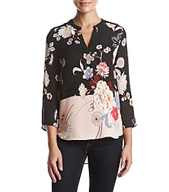 Black Rainn Floral Print V-Neck Top