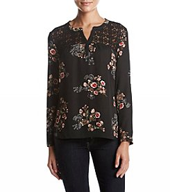 Black Rainn Lace Inset Floral Print Top