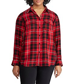 Chaps Plus Size Woven Plaid Top