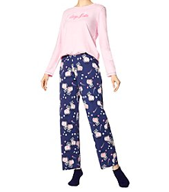 HUE Sleep Late Knit Pajama and Socks Set