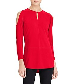Lauren Ralph Lauren Cold Shoulder Keyhole Neckline Tunic Top