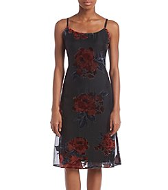 Luxology Midi Floral Flocked Dress