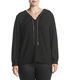 MICHAEL Michael Kors Plus Size Drawstring Chain Detail Top