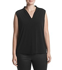 Kasper Plus Size V-Neck Pleated Collar Top