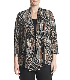 Kasper Plus Size Abstract Metallic Jacket