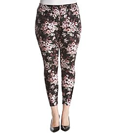no comment Plus Size Floral Printed Velvet Leggings