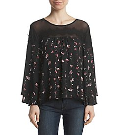 Sequin Hearts Floral Tier Mesh Yoke Top