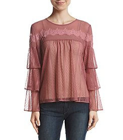 Sequin Hearts Tier Sleeve Lace Top