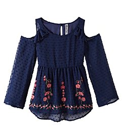 Beautees Girls' 7-16 Cold Shoulder Embroidered Babydoll Top