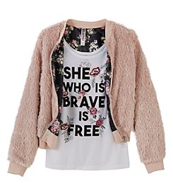Beautees Girls' 7-16 2 Piece Jacket And Brave Tank Top Set