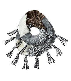 Steve Madden Blocked Loop Scarf With Fringe