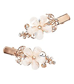 Twig & Arrow Accessories 2-Pack Goldtone Multi Stone Flower Bobby Clips