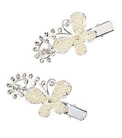 Twig & Arrow Accessories 2 Pack Silvertone Faux Pearl Bobby Clips