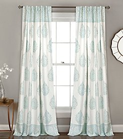 Half Moon Teardrop Leaf Room Darkening Window Curtain Set