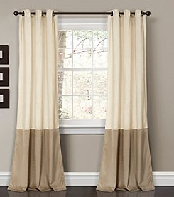 Half Moon Prima Set of 2 Velvet Colorblock Room Darkening Window Curtains