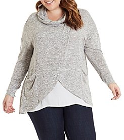 Eyeshadow Plus Size Cowlneck Asymmetrical Front Pullover Top