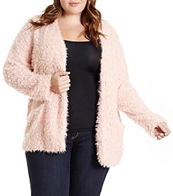 Eyeshadow Plus Size Furry Open Front Jacket