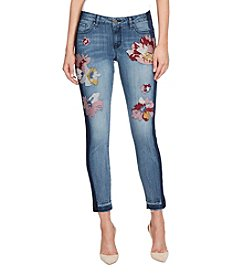 William Rast Floral Embroidered Detail Ankle Skinny Jeans